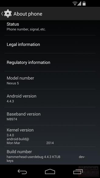 Pantalla Android 4.4.3 KitKat del Nexus 5