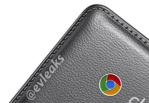 Samsung Chromebook 2 parte trasera imitación piel con detalle logo Chrome pequeño