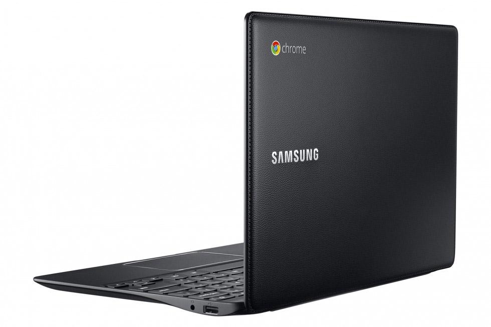 Samsung Chromebook 2 color Negro parte trasera tipo piel