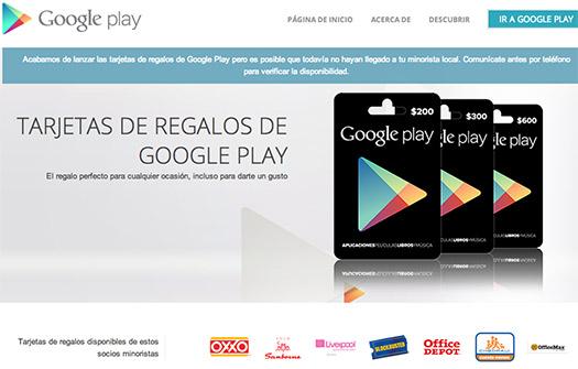 Google Play Tarjetas de Regalo en México