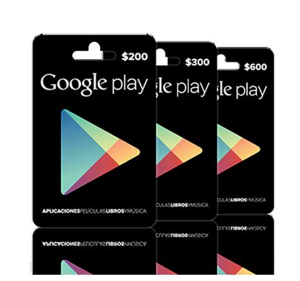 Google Play Tarjetas de Regalo en México $200 $300 y $600