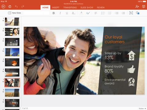 Office PowerPoint para iPad