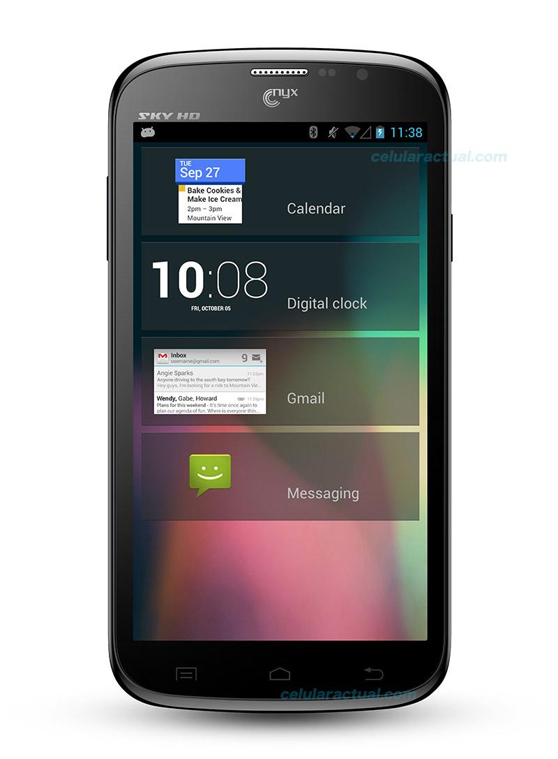 Nyx SKY HD phablet en México con Telcel color negro pantalla de frente