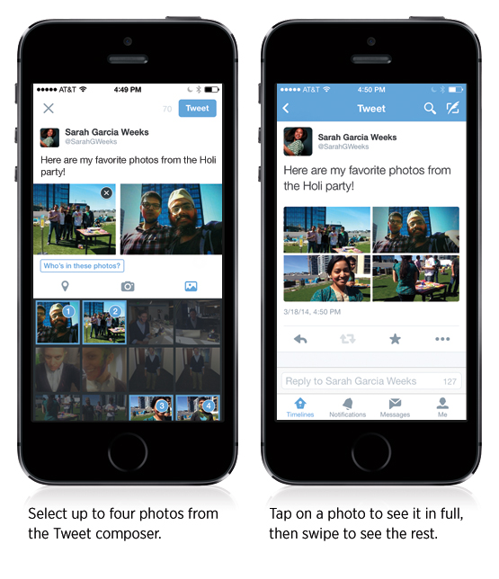 Twitter subir hasta 4 fotos iPHone