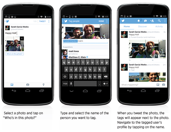 Twitter Tag etiquetar imágenes Android