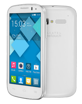 Alcatel Pop C5 en México con Iusacell pantalla y cámara trasera color blanco