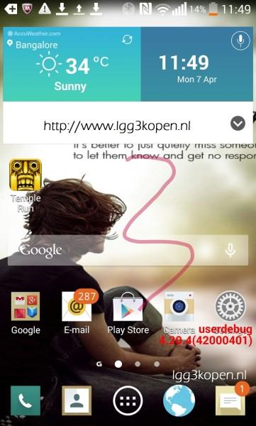 LG G3 pantalla screenshot Android UI Flat Plana