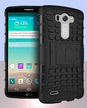 LG G3 con cubiertas rudas mostrando pantalla y cámara