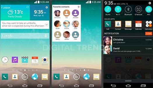 Pantallas del LG G3 y nueva interfaz confirmando pantalla QHD