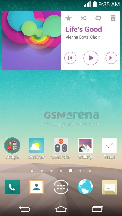 Pantallas del LG G3 y nueva interfaz Pantalla Home Music Player