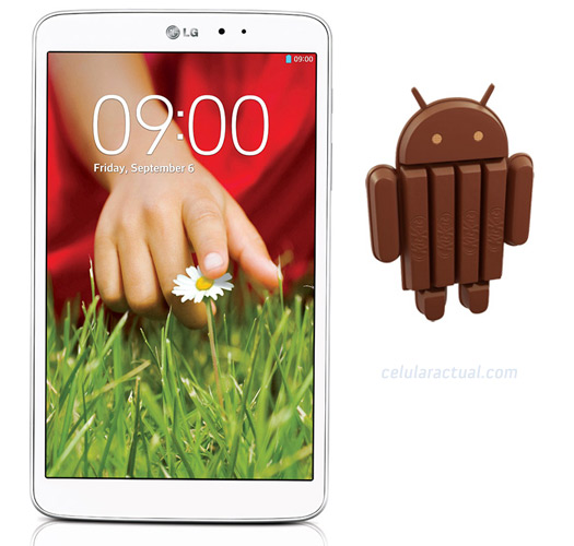 LG G Pad 8.3 con Android 4.4.2 KitKat Logo