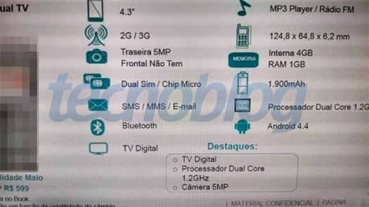 Moto E filtrado especificaciones
