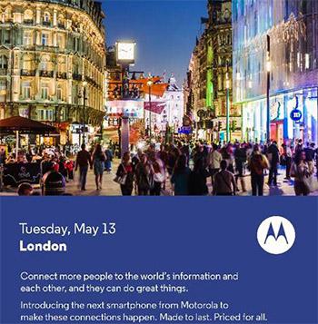 Motorola invitación mayo 13 en Londres nuevo smartphone