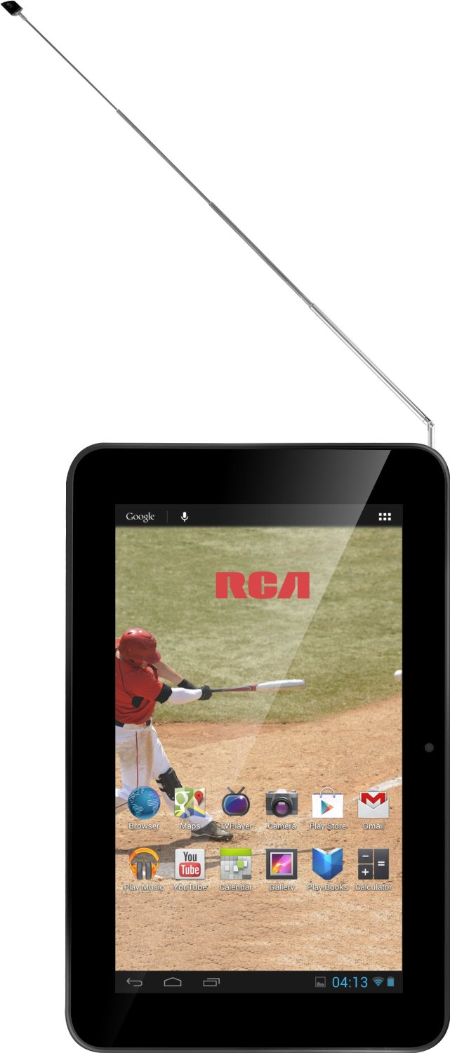 RCA 7 TV una tablet con TV y Dual core en México pantalla frente y Antena de TV