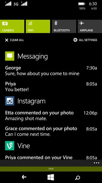 Lumia 635 Windows Phone 8.1 Action Center