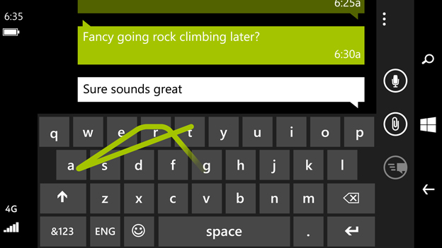 Lumia 635 Windows Phone 8.1 Word Flow