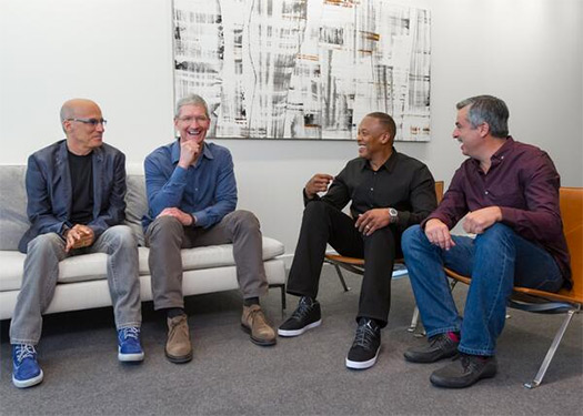 Apple Tim Cook, Dr Dre y Jimmy Iovine en compra de Beats Audio
