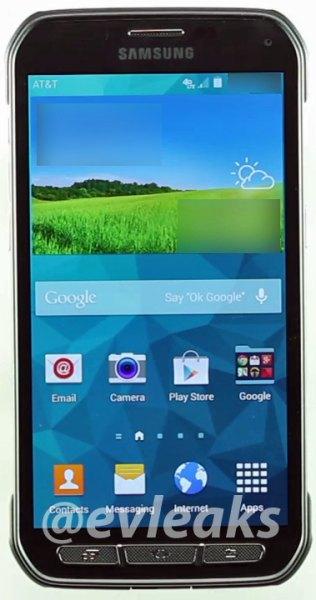 Samsung Galaxy S5 Active frente pantalla encendido