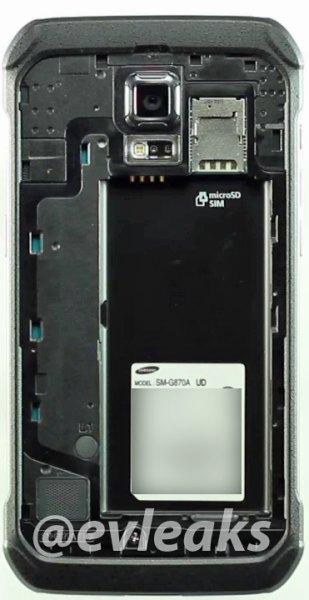 Samsung Galaxy S5 Active frente interior ranuras