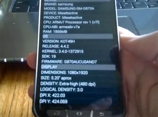 El Galaxy S5 Active pantalla en Video