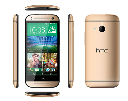 HTC One mini 2 oficial pantalla y cámara color oro dimensiones