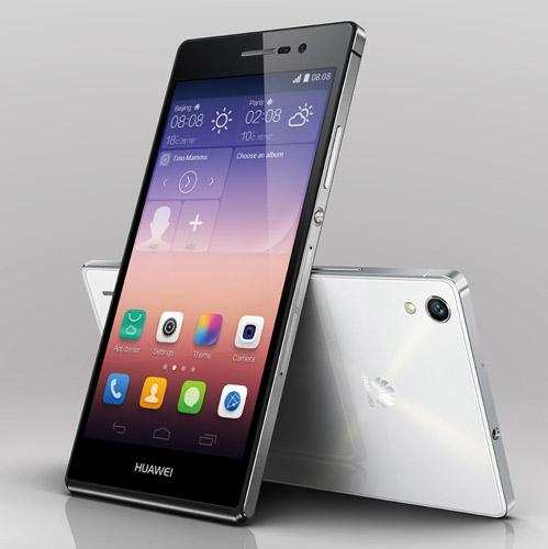 Huawei Ascend P7 color negro pantalla y cámara