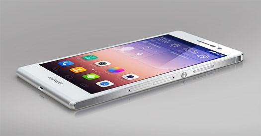Huawei Ascend P7 color blanco pantalla acostado
