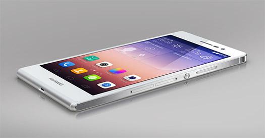 Huawei Ascend P7 color blanco pantalla acostado