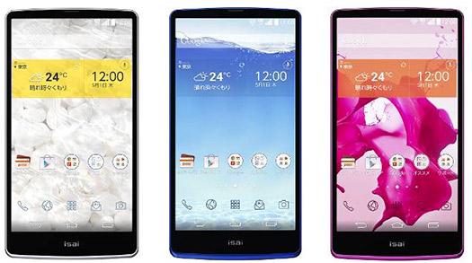 LG Isai FL G3 japonés color blanco, azul y rosa pantallas