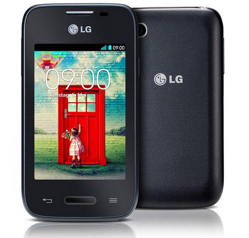 LG L35 color negro pantalla y cámara