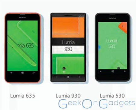 Nokia Lumia 530 imagen junto a otros Lumia