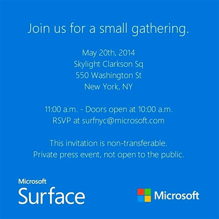 Microsoft Surface Mini invitation 20 may