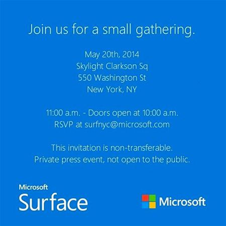Microsoft  Surface Mini invitation 20 may