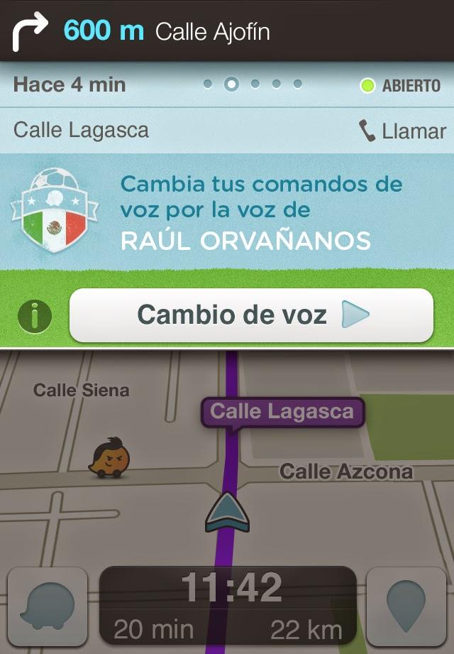 Waze con voces de  Raúl Orvañanos y Guillermo Schutz sugerencias