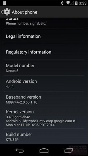 Android 4.4.4 KitKat settings