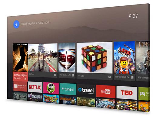 Android TV en pantalla de TV