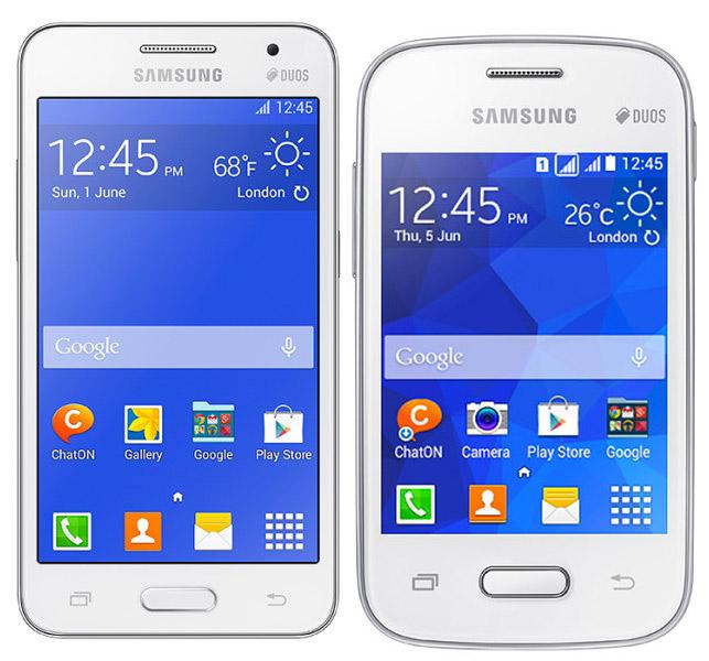Samsung Core 2 Duos y Galaxy Pocket 2 Duos color blanco pantallas
