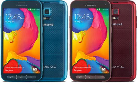 Samsung Galaxy S5 Sport pantalla frente colores azul y rojo