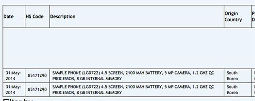El LG G3 Mini en sitio de importación