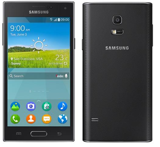 Samsung Z con Tizen OS pantalla y parte trasera