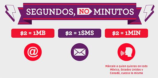 Tarifas con Virgin Mobile en México Tarifa por Segundo