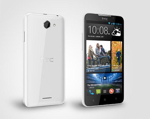 El HTC Desire 516 Dual SIM pantalla color blanco pantalla y cámara trasera