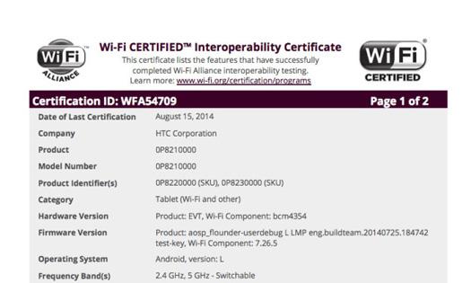 HTC Nexus en documento
