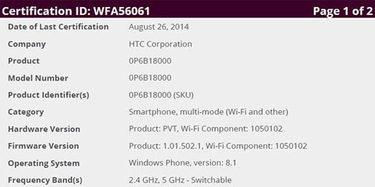 HTC One M8 Windows certificado