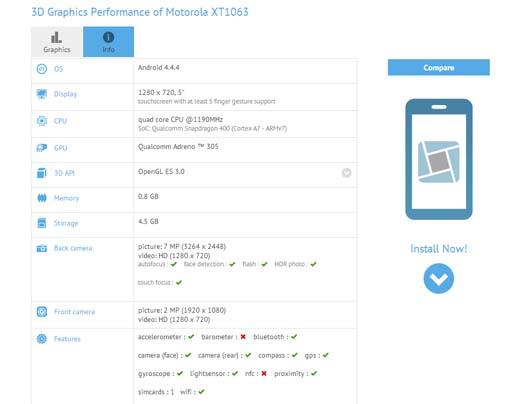 Moto G2 especificaciones