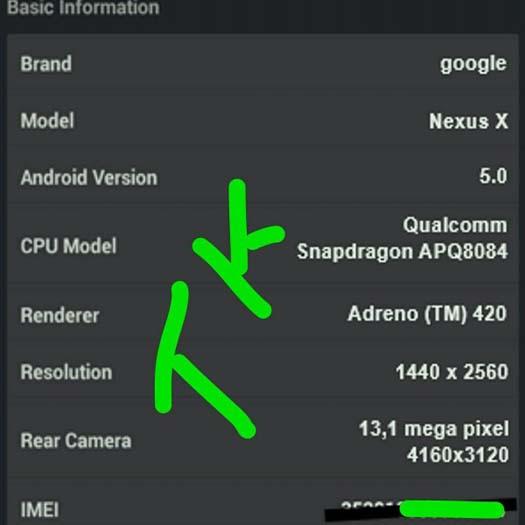 Especificaciones Nexus X
