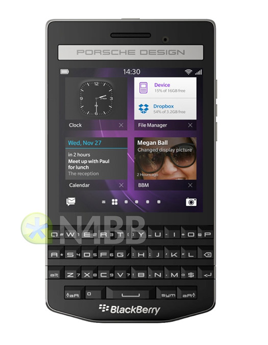 BlackBerry Porsche Design P'9983 color negro frente