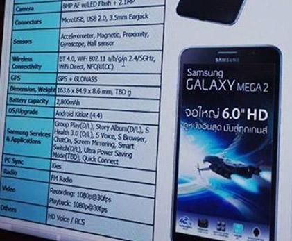 Samsung Galaxy Mega 2 especificaciones
