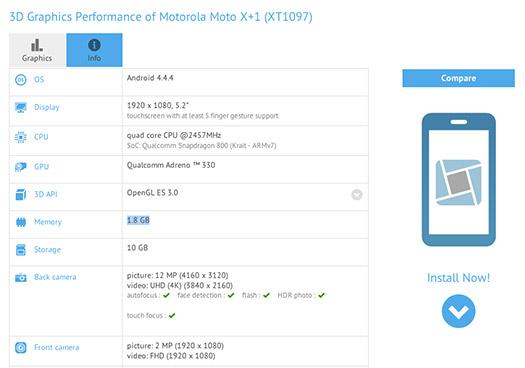 Motorola Moto X+1 en resultados benchmarks con Snapdragon 801