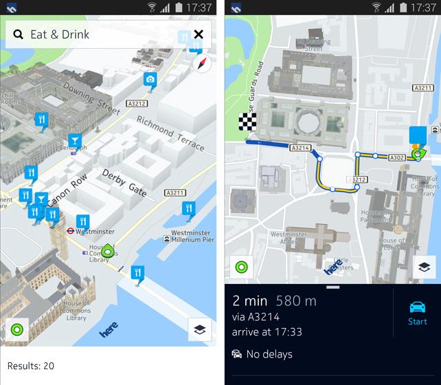 Nokia Here Mapas en un Galaxy S5 de Samsung
